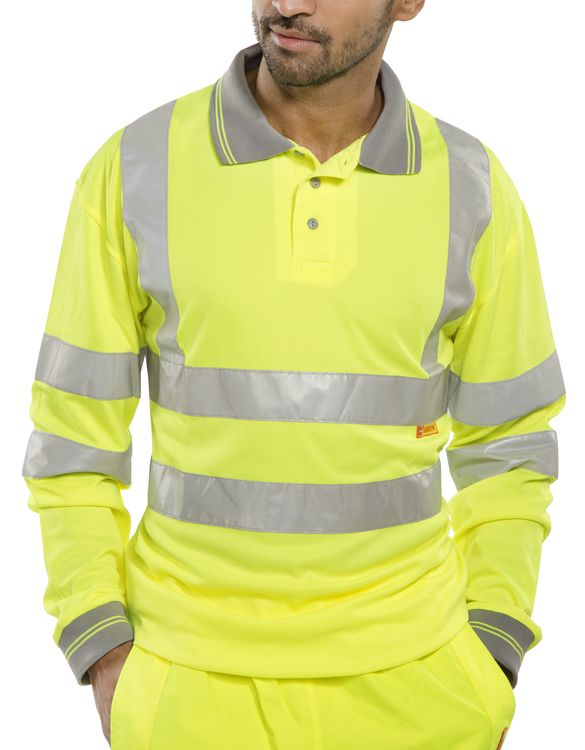 Long sleeve hi viz polo shirt the safety shack for Hi viz running shirt