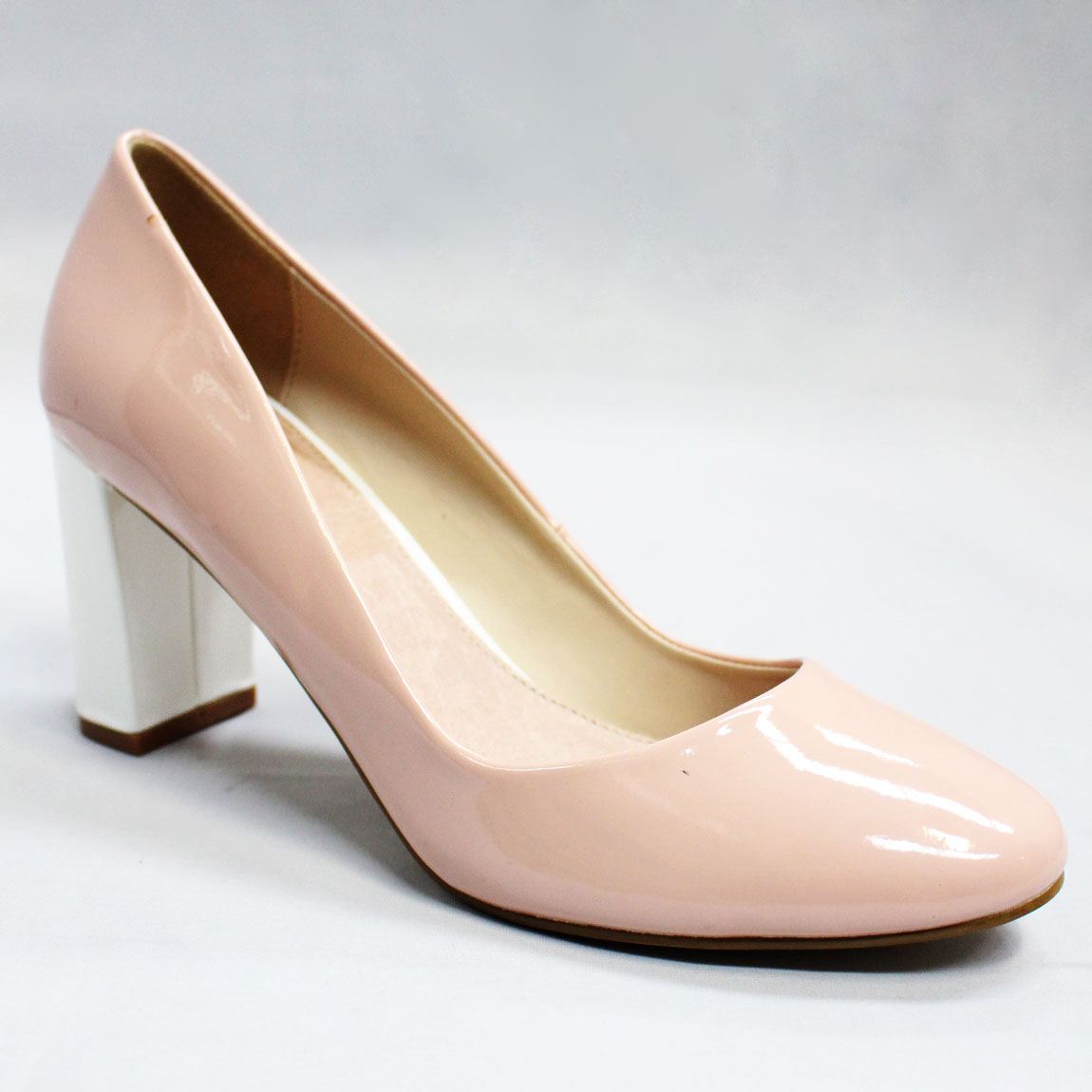 Details about J By Jasper Conran Julie Womens Light Pink Mid Block Heel Court  Shoes UK 5 18cd7df5f