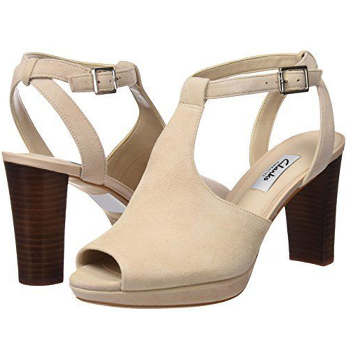 86fce4e15b73 Sentinel Clarks Kendra Charm Womens Nude T Bar High Block Heel Slingback  Sandals UK 6