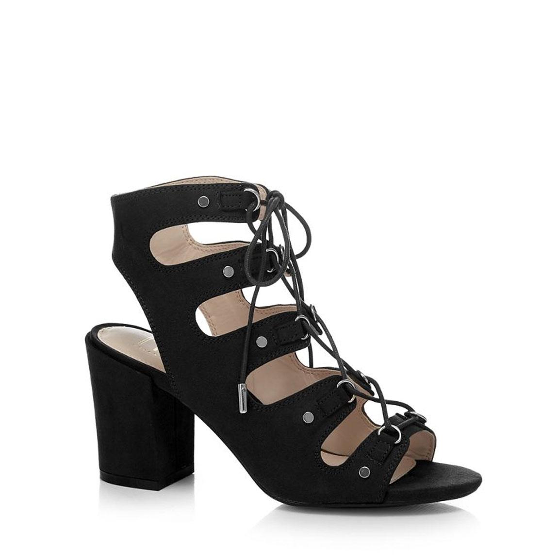 30ab2dff417 Details about Savannah Miller Sheeran Ghilie Womens Black Block Heel  Gladiator Sandal UK 5