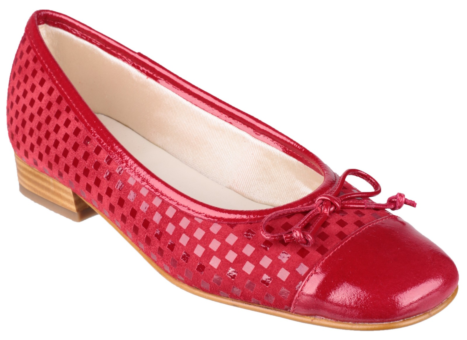 Riva Andros Patent/Suede Women's Ballerina Shoe Red - 40.5 nJqfZh