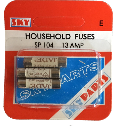 Sky Parts SP104 Car Van Automotive Accessory Hardware 240V Volts 13A Amps House Hold Fuse