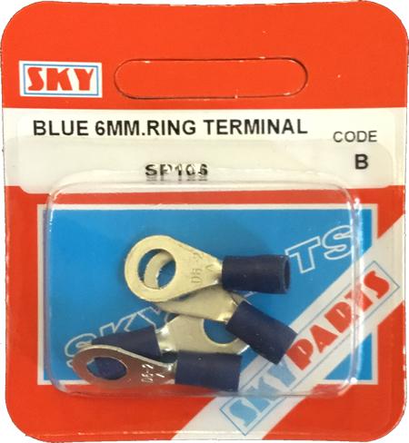 Sky Parts SP106 Car Van Automotive Accessory Hardware Blue 6mm Ring Terminals