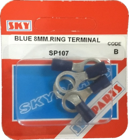 Sky Parts SP107 Car Van Automotive Accessory Hardware Blue 8mm Ring Terminals