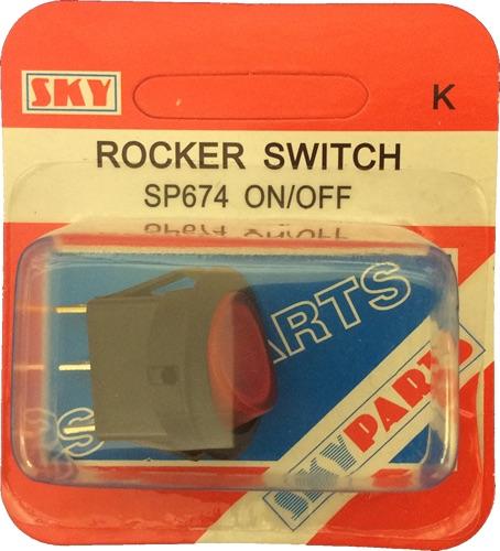 Sky Parts SP674 Car Van Automotive Accessory Hardware Mini On-Off Red Rocker