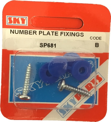 Sky Parts SP681 Car Van Automotive Accessory Hardware Number Plate Fixing Blue