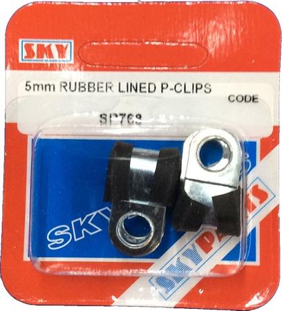 Sky Parts SP768 Car Van Automotive Accessory Hardware 5mm Rubber Lined P clips