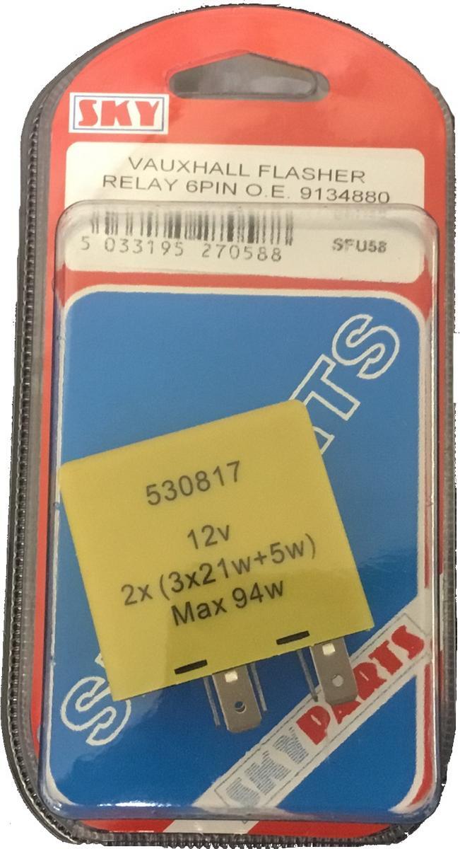 Sky Parts SFU58 Car Van Automotive Accessory Hardware 21 Watts Flasher Unit Vauxhall Hall 6 Pin