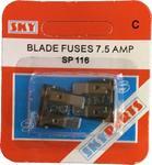 Sky Parts SP116 Car Van Automotive Accessory Hardware 12V Volts 7.5A Amps Blade Fuses