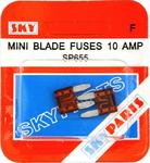 Sky Parts SP655 Car Van Automotive Accessory Hardware 12V Volts 10A Amps Blade Fuse