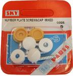 Sky Parts SP673 Car Van Automotive Accessory Hardware Number Plate Screw & Cap Mixed