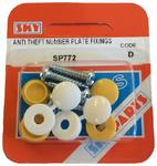 Sky Parts SP772 Car Van Automotive Accessory Hardware Number Plate Caps Anti Theft