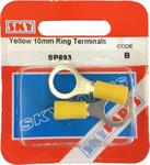 Sky Parts SP893 Car Van Automotive Accessory Hardware Yellow 10mm Ring Terminals 35 Amp