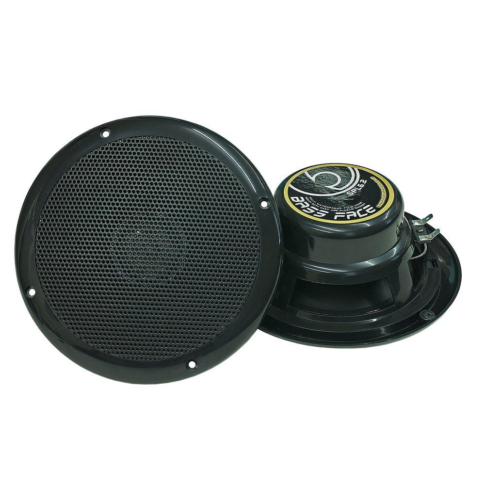 "Bassface SPL6.2B 300w 6.5"" Inch 17cm Waterproof Marine Boat Speaker Pair Black"