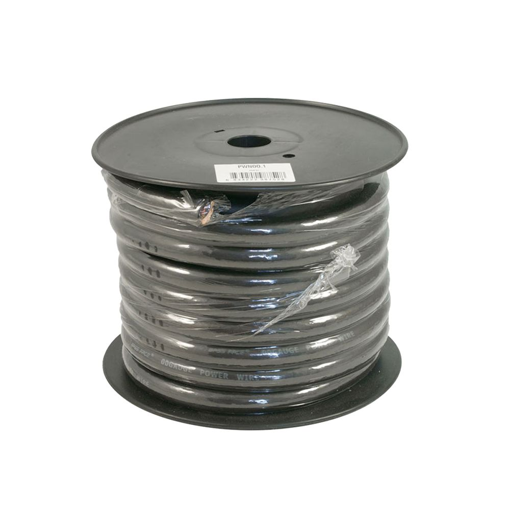 Bassface PWN00.1 OFC 00AWG 53mm+ Black Negative Wire Cable Spool 15m 5929 Strand