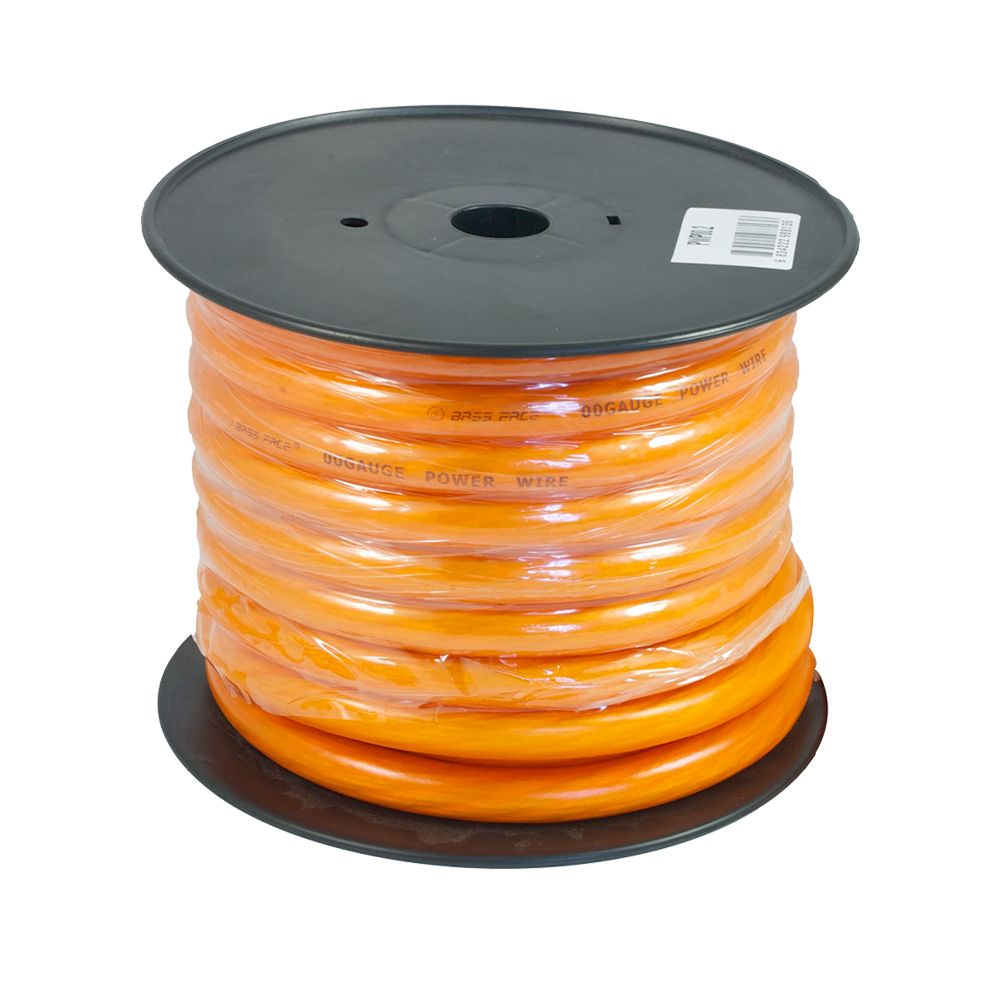 Bassface PWP00.2 CCA 00AWG 53+mm Orange Power Wire Cable Spool 15m 5929 Strand