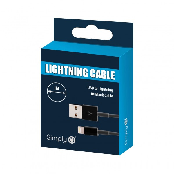 Simply Black iPhone Car Office Home Universal Data Sync Charge USB Cable 1m
