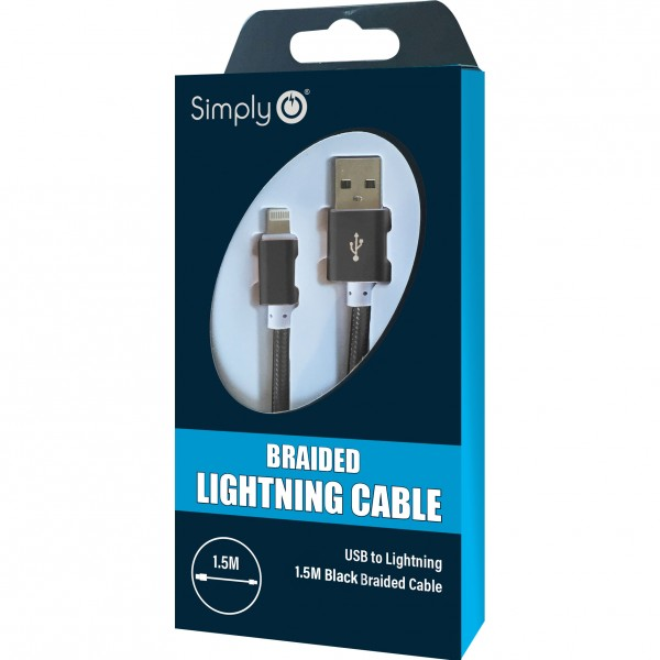 Simply Black iPhone In Car Office Home Universal Data Sync Charging USB Cable 1.5m