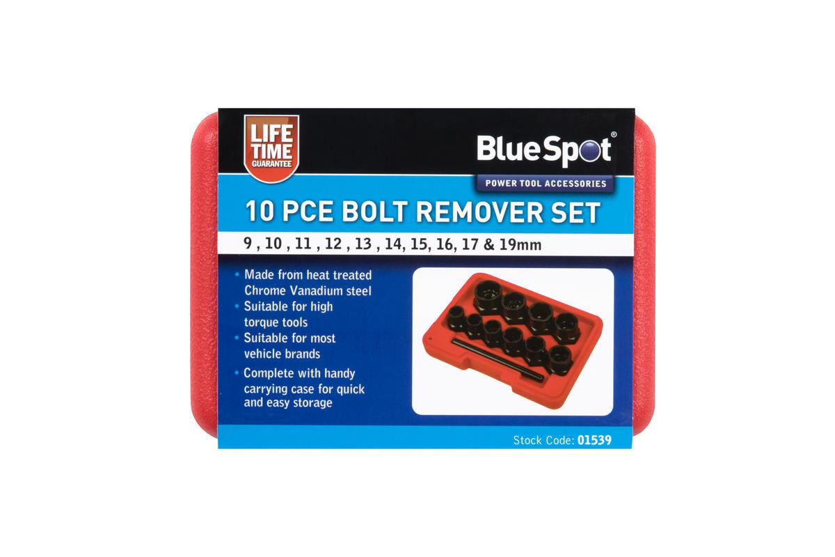 Bluespot 01539 Automotive Garage Workshop 10 Piece Bolt Remover Set 9-19mm