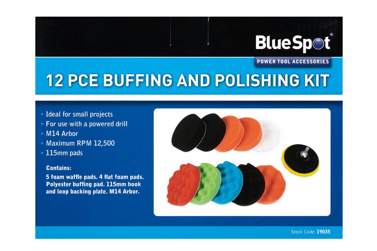 Bluespot 19035 12 Piece Car Cleaning Detailing Polishing Buffing Pads & Adaptor
