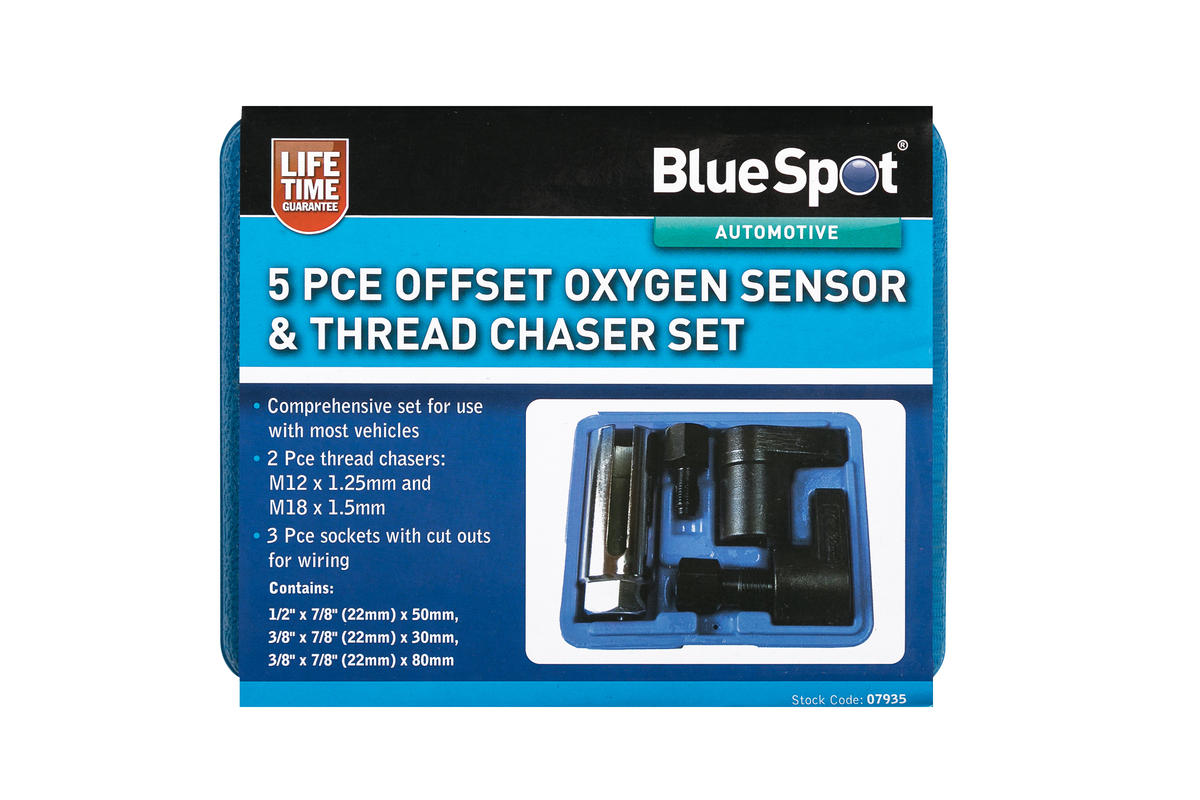 Garage Oxygen Sensor Lamba 5 Piece  Thread Chaser Automotive Bluespot Set