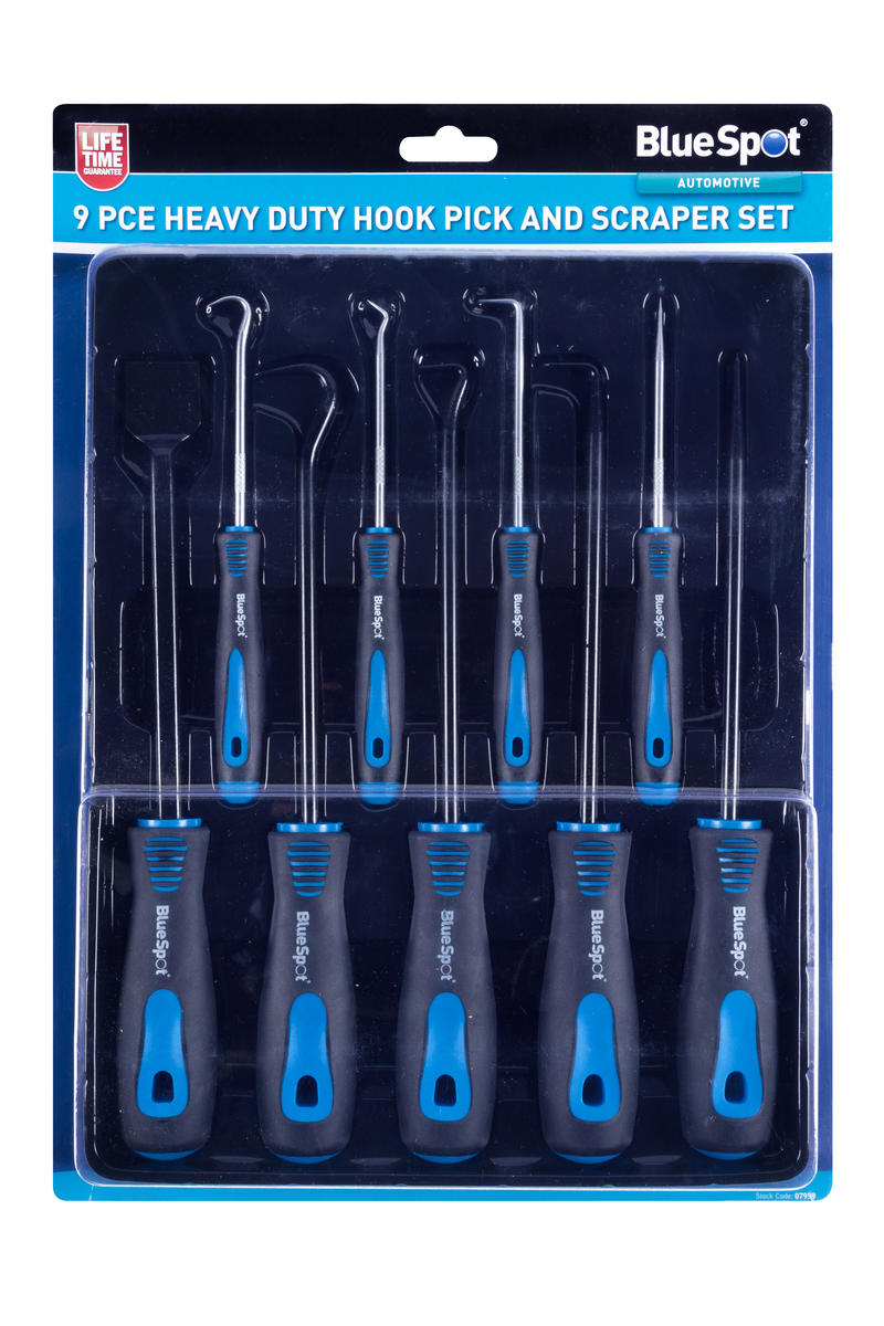 Bluespot 07959 Auto Mechanics 9 Piece Heavy Duty Hook Pick Scraper Set