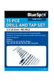 Bluespot 20512 Garage Workshop 15 Piece 2.5-10.2mm Drill  M3-M12 Tap Die Set