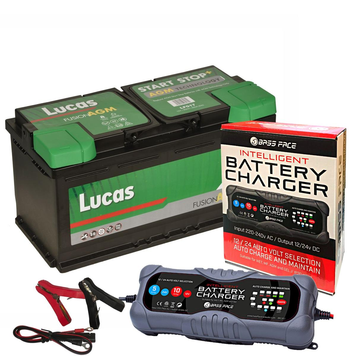 Lucas LF017 Audi BMW VW 3 Year Car Battery 12v 95Ah 850CCA W/ 10 Amp Charger