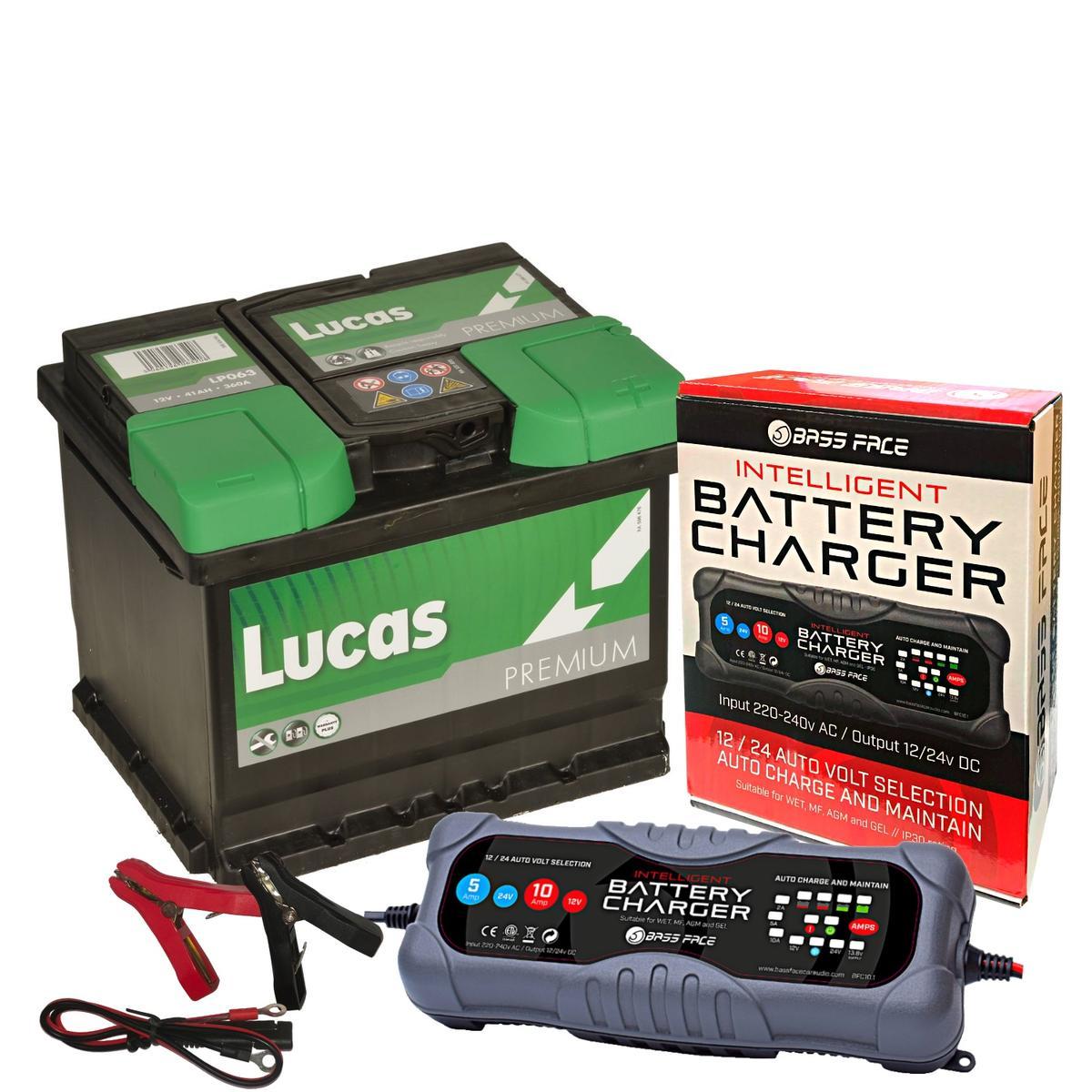Lucas LP063 Audi VW Seat 4 Year Car Battery 12v 44Ah 420CC W/ 10 Amp Charger