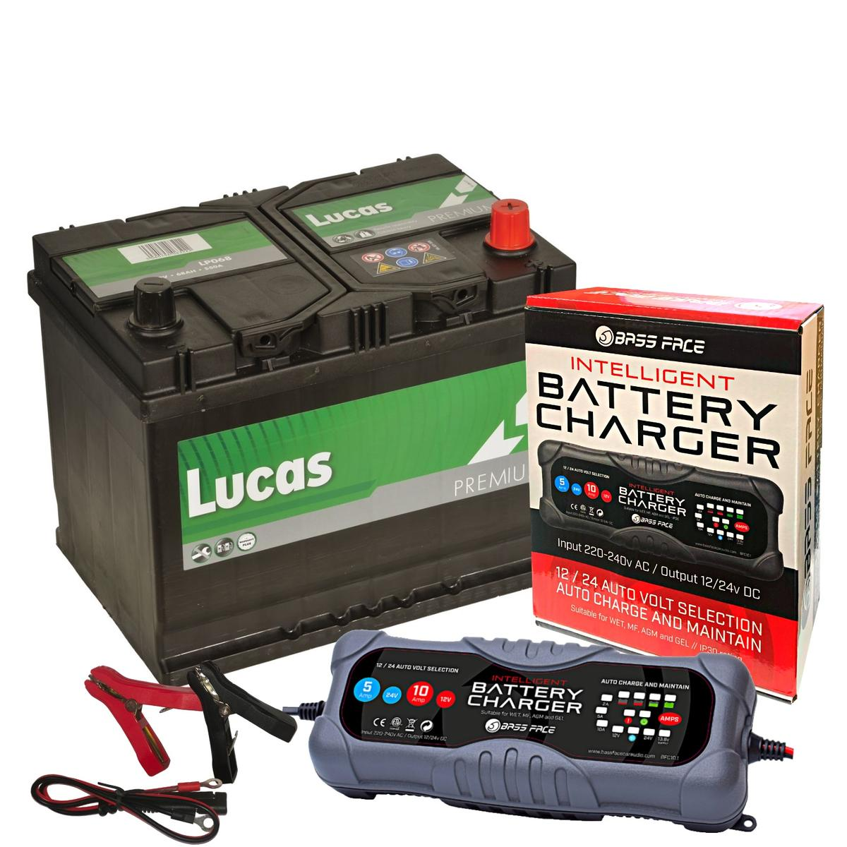Lucas LP068 Toyota 4 Year Car Battery 12v 68Ah 540CCA W/ 10 Amp Charger