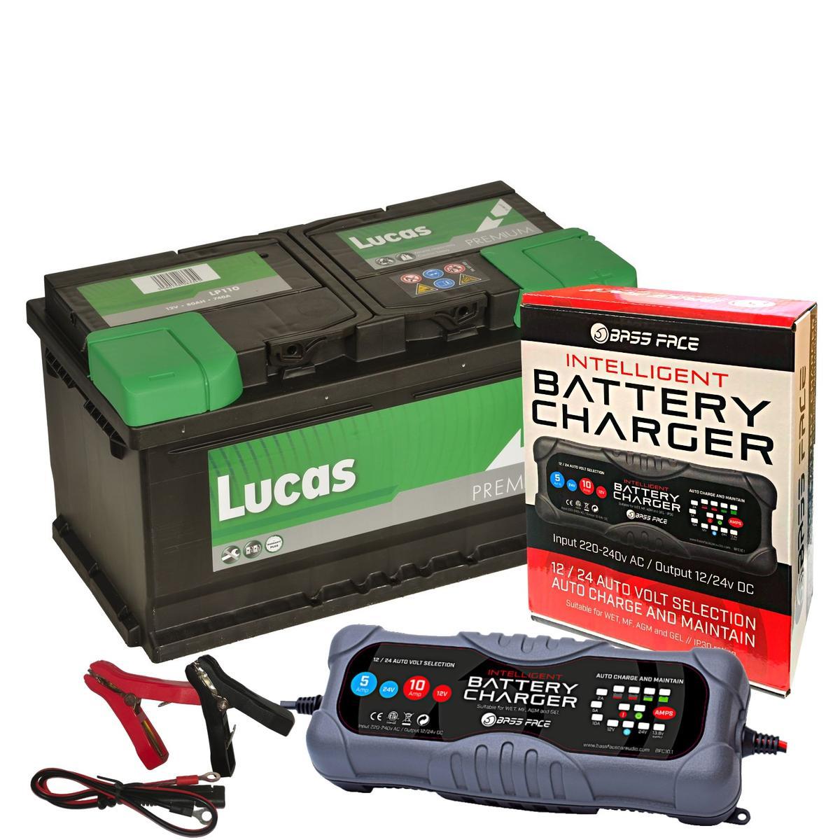 Lucas LE110 Audi Porsche 4 Year Car Battery 12v 80Ah 800CCA W/ 10 Amp Charger