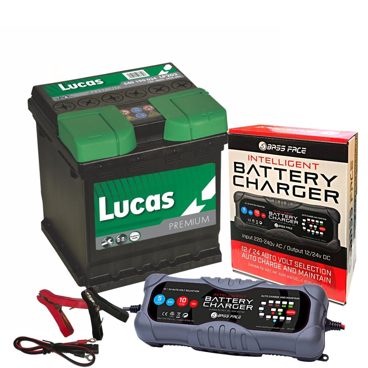 Lucas LP202 Peugeot Citreon 4 Year Car Battery 12v 40Ah 340CCA W/ 10 Amp Charger