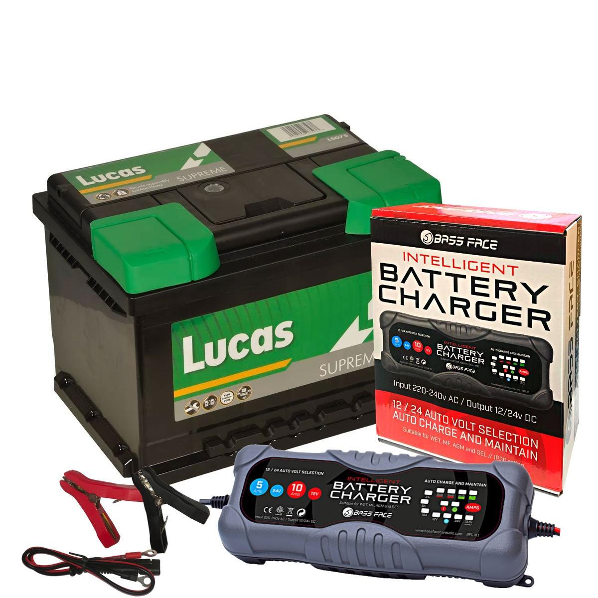 Lucas LS075 Vaux BMW VW Car Battery 12v 5 Year 075 62Ah 600CCA W/ 10 Amp Charger
