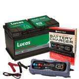 Lucas LF115 Vaux Porsche 3 Year Car Battery 12v 80Ah 800CCA W/ 10 Amp Charger