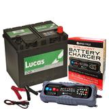 Lucas LP005 Ford Honda 4 Year Car Battery 12v 60Ah 540CCA W/ 10 Amp Charger
