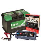 Lucas LP896 Premium 12v Garden Machinery Battery 32Ah 310CCA W/ 10 Amp Charger