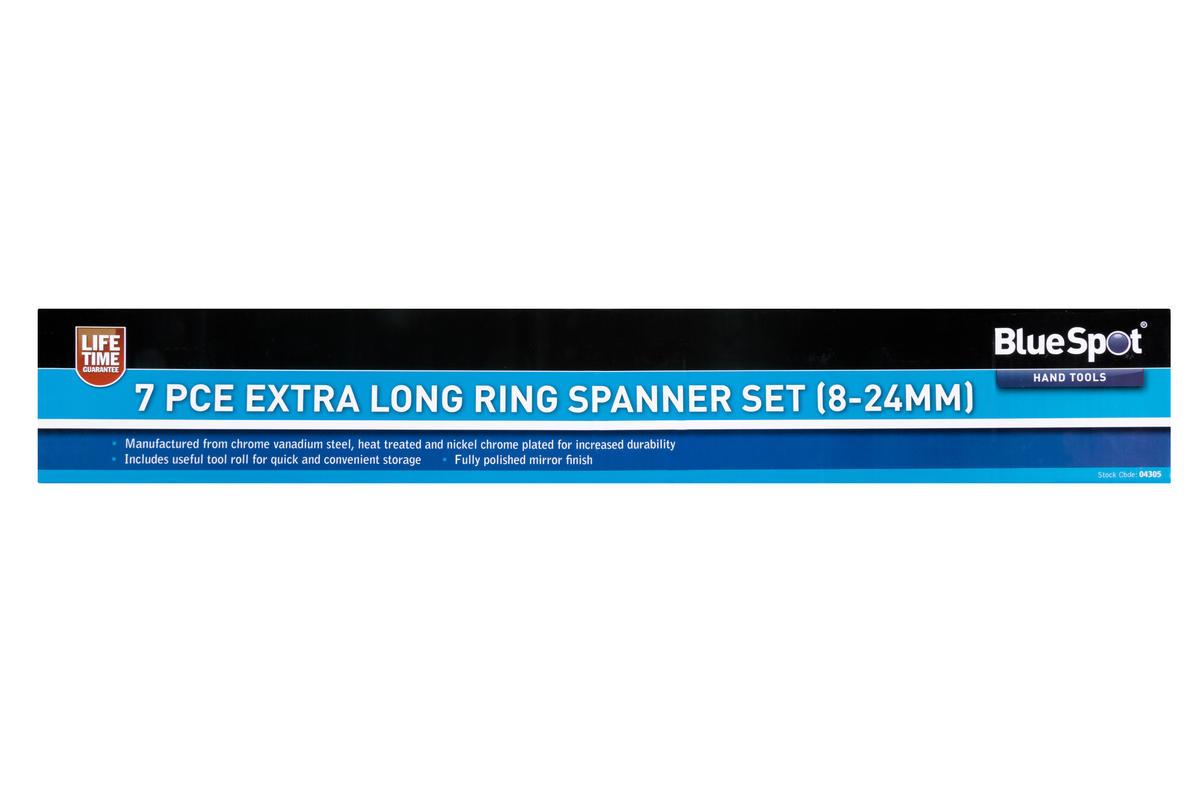 Bluespot 04305 7 Piece Mechanics Extra Long Reach 8-24mm Ring Spanner Set