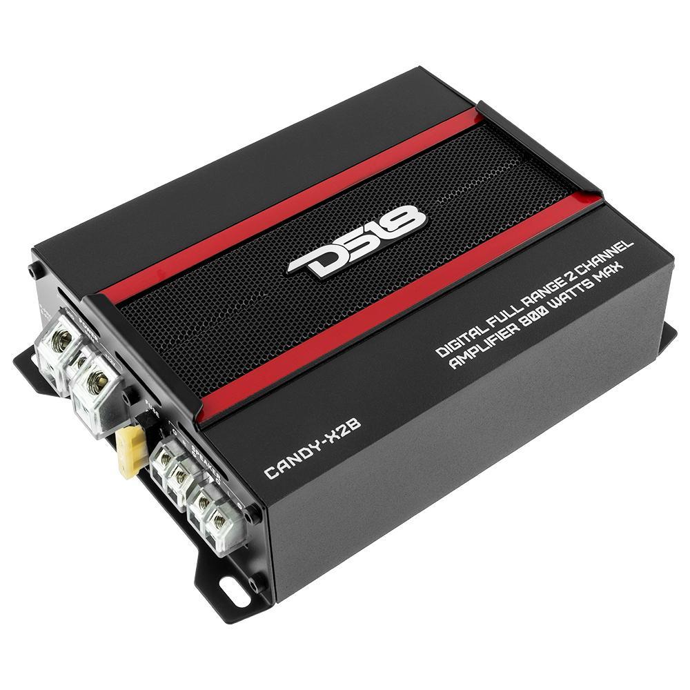 DS18 CANDY-X2B In Car Audio 2 Channel 800 Watt Full Range Class D Amp Amplifier