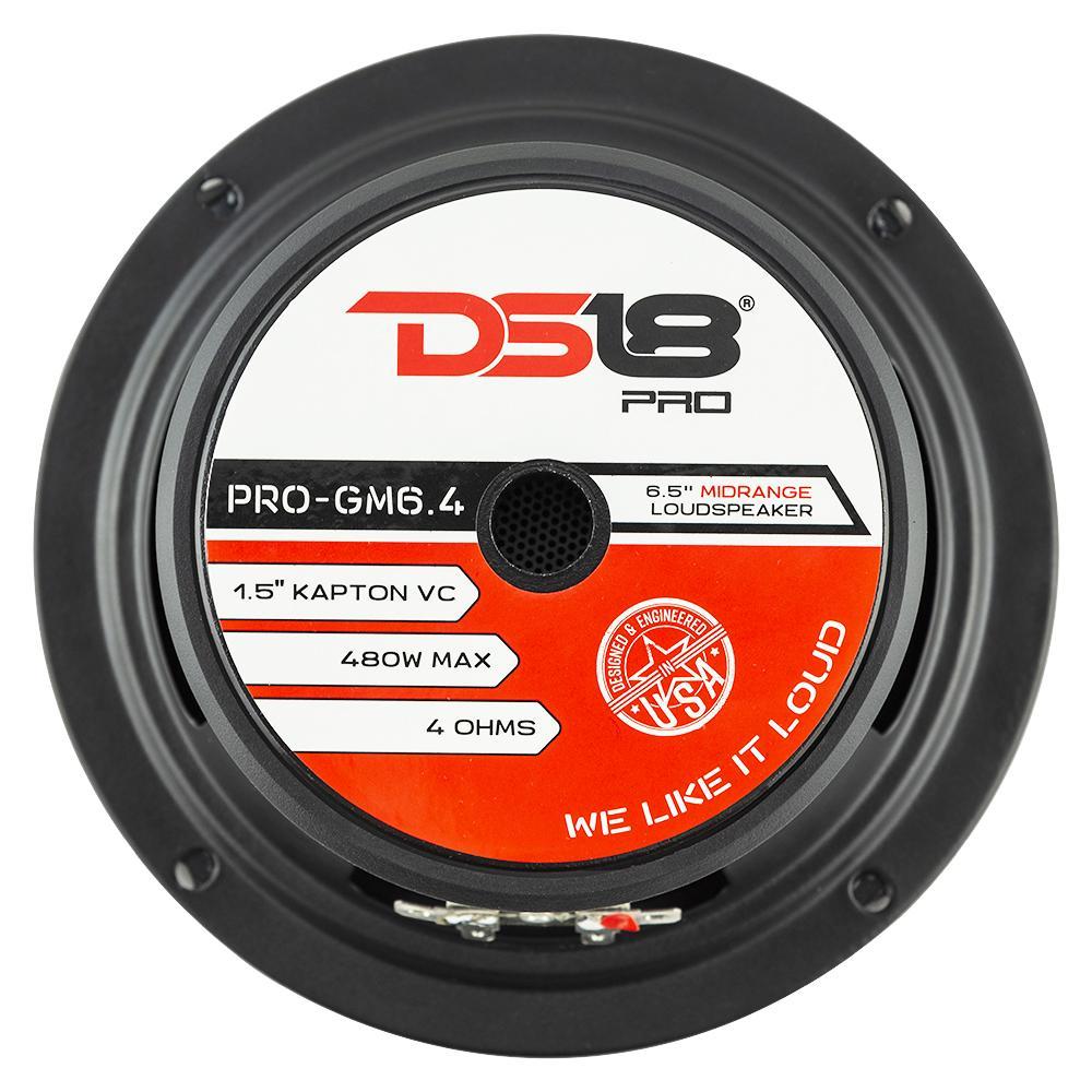 """DS18 PRO-GM6.4PK In Car Audio 6.5"""" Inch 480 Watt 4 Ohm Mid Range Tweeter Package"""