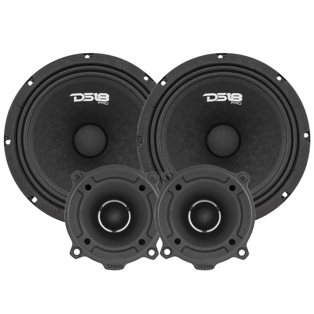 """DS18 PRO-GM8.4PK In Car Audio 8"""" Inch 580 Watt 4 Ohm Mid Range Tweeter Package"""