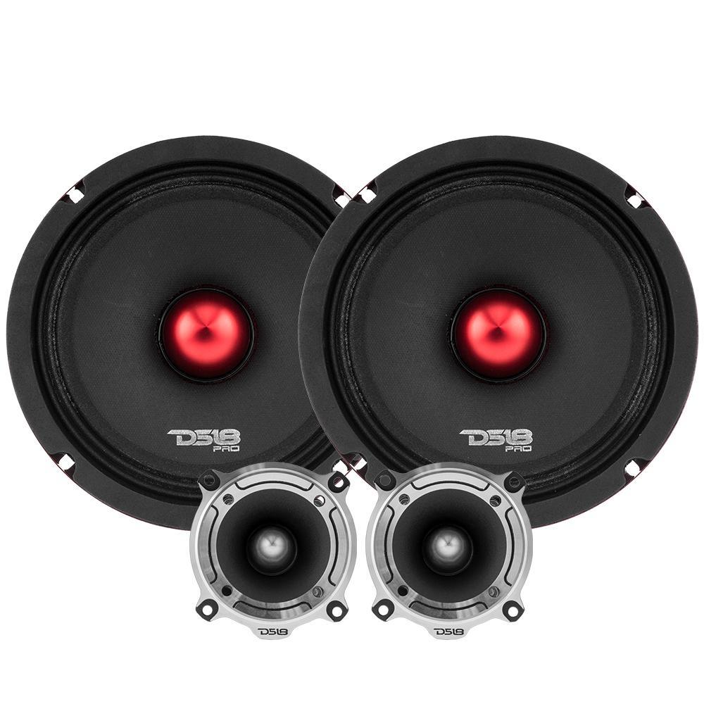 """DS18 PRO-X6.4BMPK Car Audio 6.5"""" Inch 500 Watt 4 Ohm Mid Range Tweeter Package"""
