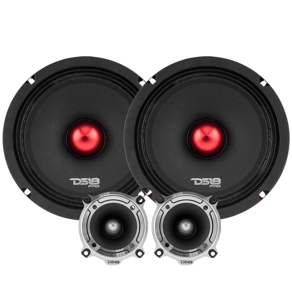 "DS18 PRO-X8.4BMPK In Car Audio 8"" Inch 480 Watt 4 Ohm Mid Range Tweeter Package"
