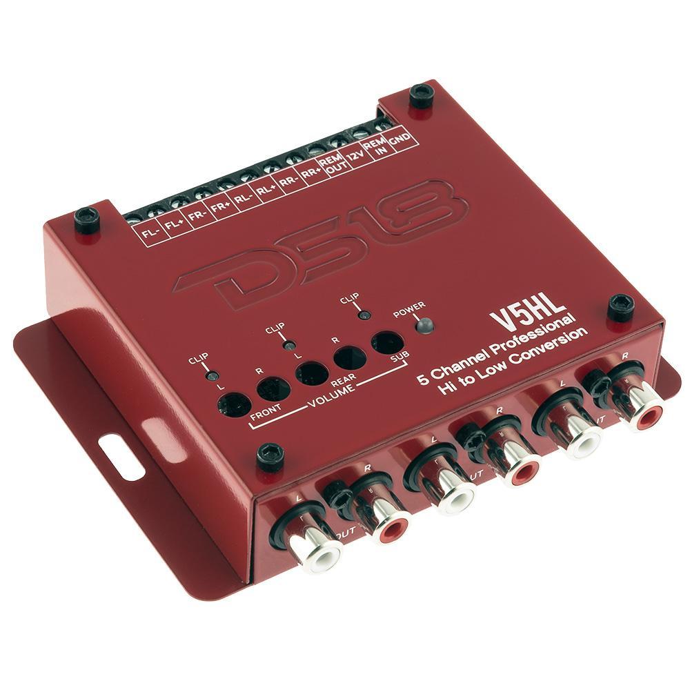 DS18 V5HL Car Audio 5 Channel Amp Amplifier Hi Low Convertor