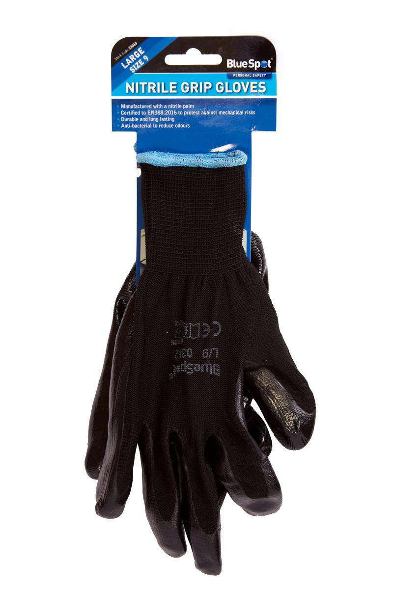 Garage Nitrile Gloves Stay Safe Large Mechanical EN388:2016 Extra Grip Bluespot