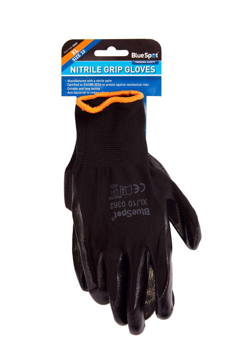 Garage Nitrile Gloves Stay Safe XL Mechanical EN388:2016 Extra Grip Bluespot