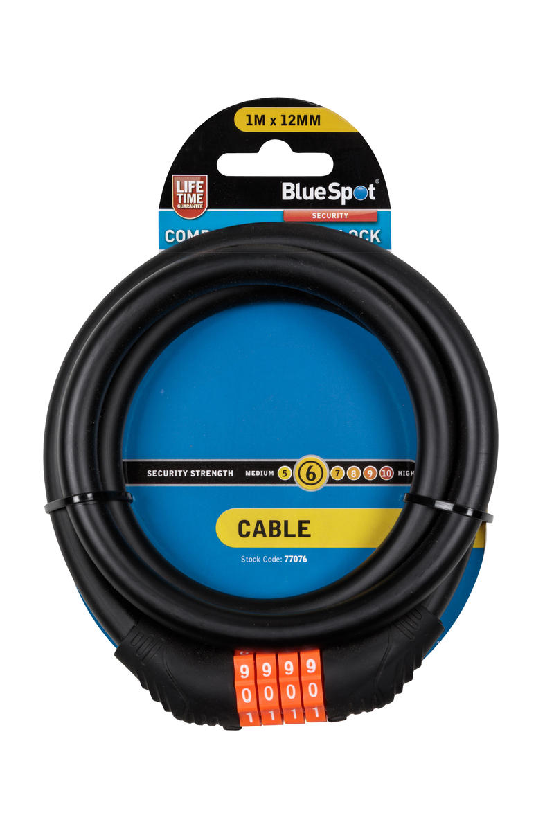 Combination Cable Lock Bike Cycle Security Stay Safe 1m Meter Bluespot Single