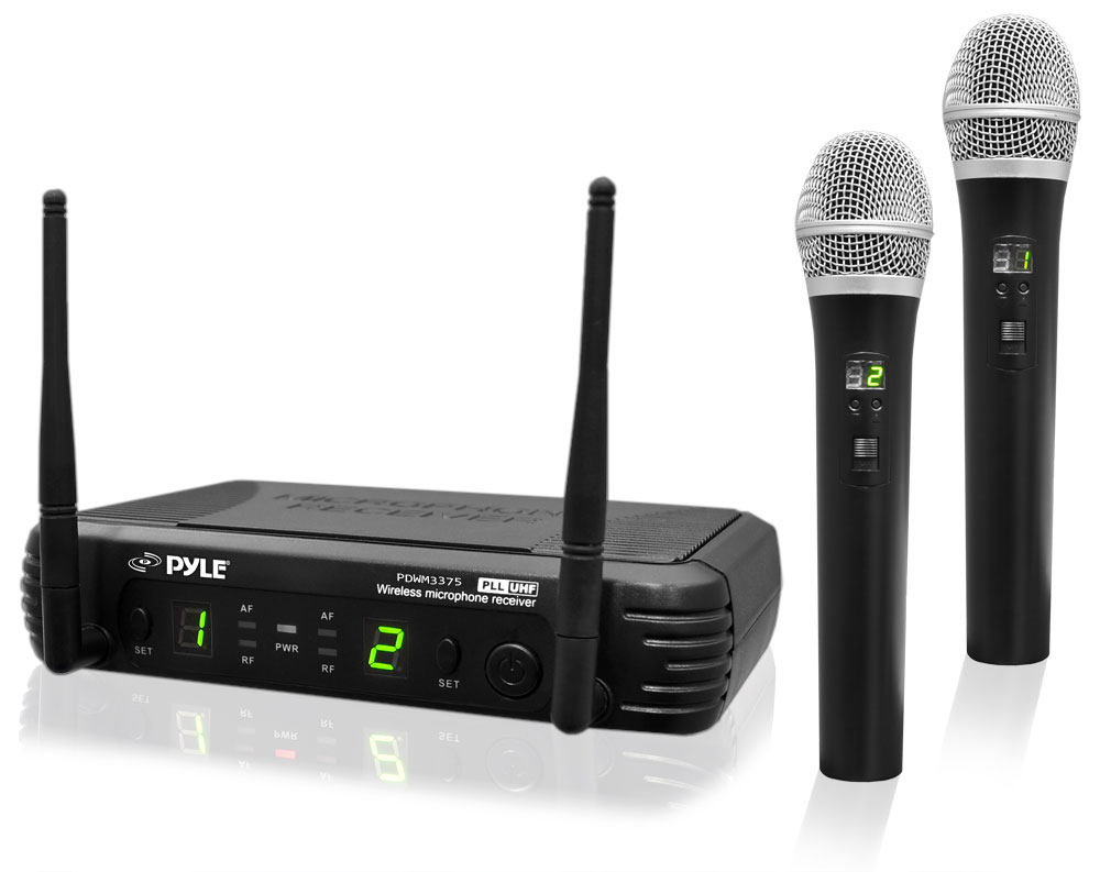 Pyle PDWM3375 Professional 2-Channel UHF Wireless Handheld Microphone System
