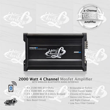 Lanzar HTG448BT Heritage Series 2000 W 4 Channel Mosfet Amplifier with Wireless Bluetooth Interface Thumbnail 2