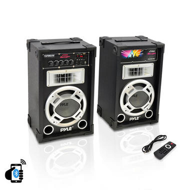 "Pyle PSUFM837BT Pair of 800W 8"" Bluetooth Speakers USB/AUX FM Flashing Light Thumbnail 2"