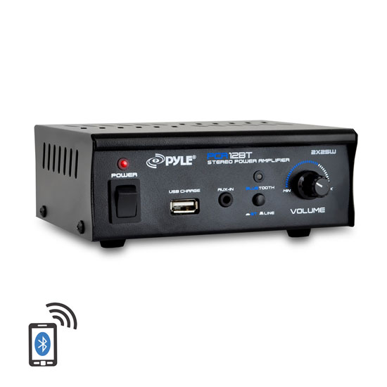 Pyle PCA12BT 2 x 25W Bluetooth Stereo Power Amplifier AUX-In USB Charge Port